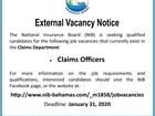 External Vacancy Notice Claims Officers